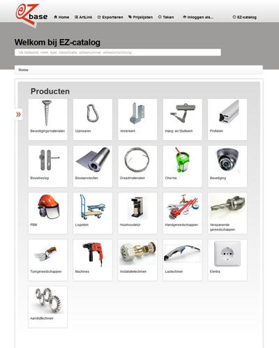 EZ-catalog online component hoofdscherm