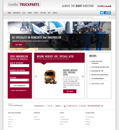 LengoTruck Parts: website ontwerp en realisatie Integrace BV