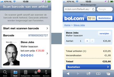hybride oplossing: zoek en scan van bol.com in combinatie met m.bol.com winkelmand