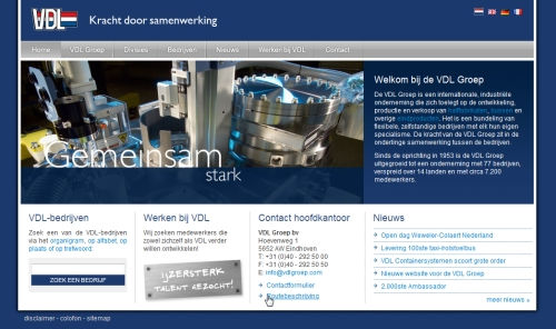 corporate website vdl groep